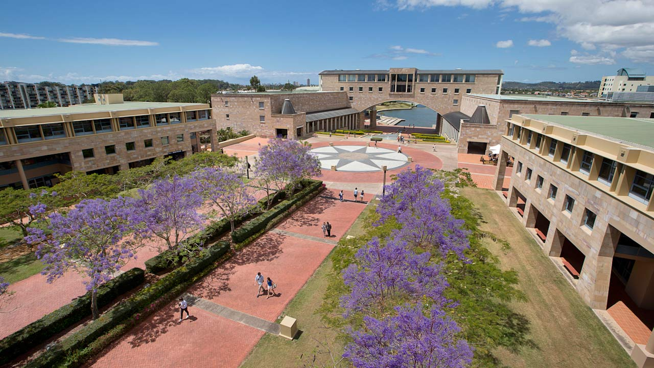 People walking down a pathway lined with purple flowers leading to the center of campus