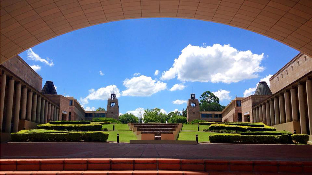 From the center of Bond's campus looking at surrounding buildings and greenery
