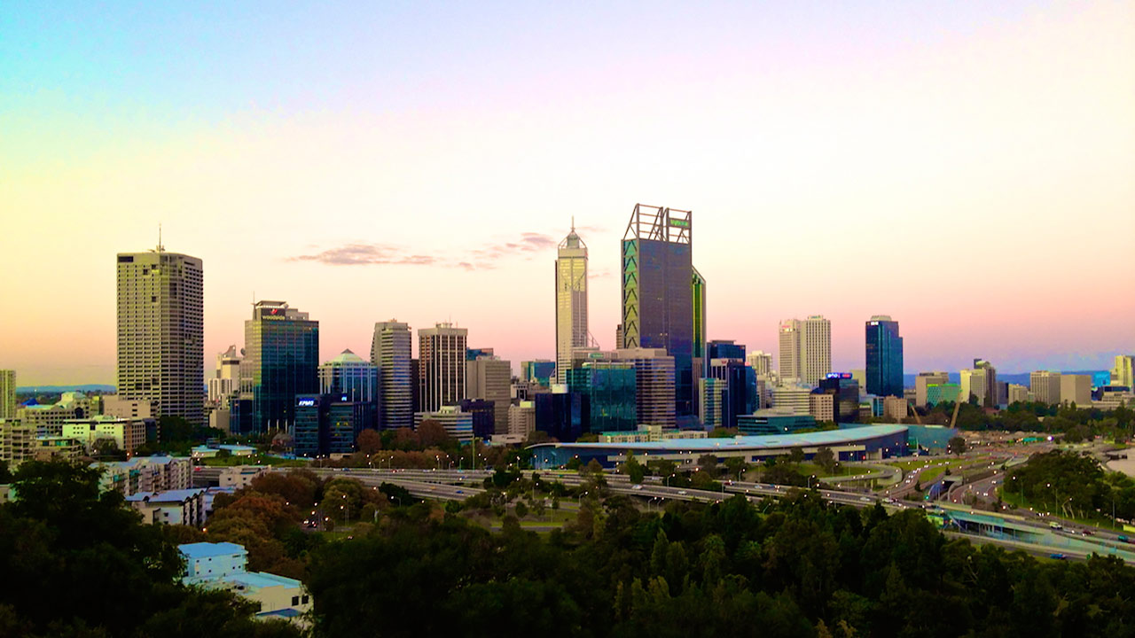 The sky looking as if it was painted with water colours above Perth's cityscape