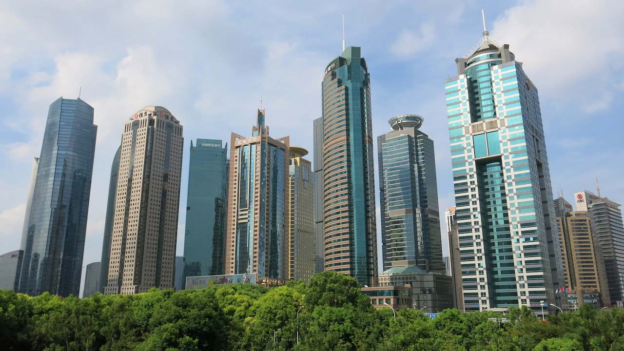 A cluster of high-rise buildings in Shanghai