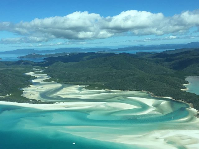 Ariel view over Whitsundays in Queensland Australia